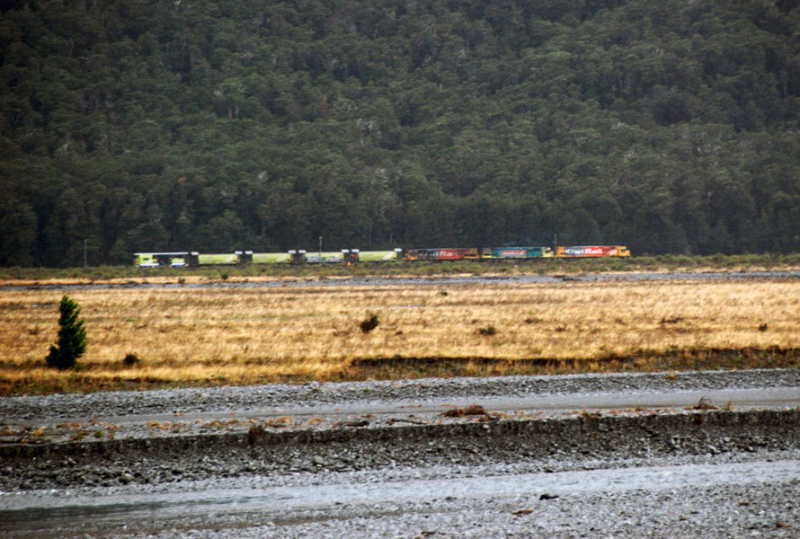 Three engines and five ballast wagons stopped on the far side of the Whaimakariri River. (Thanks to Jim Eyre for correcting me on this!)