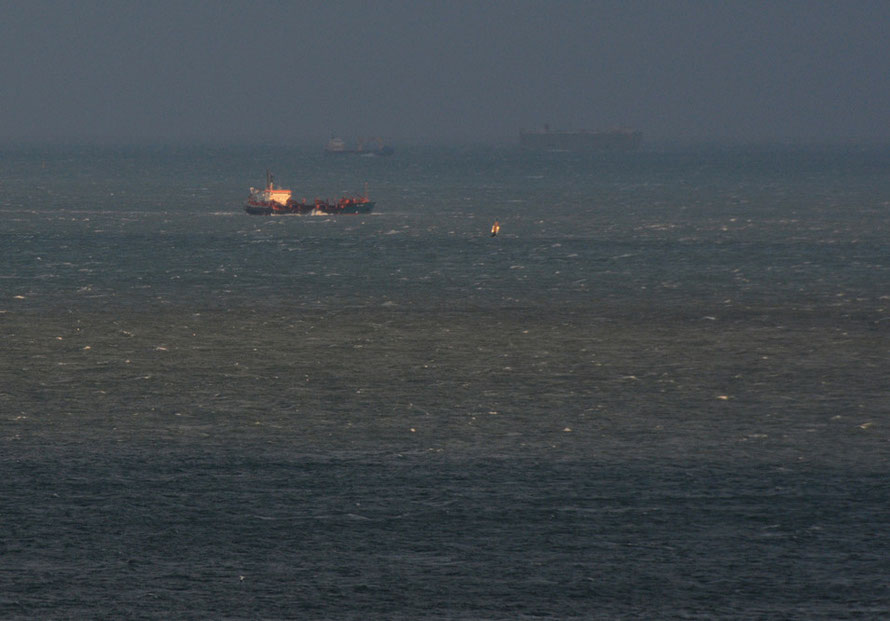 The Demoted Blip. Ship at the South Sounds Beacon about to turn for Dover Port, 15.58, gusting 45mph, 3.5 C.