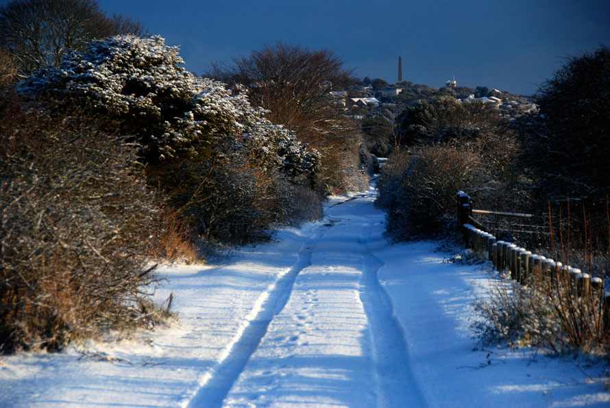 Snow in the lane and Dover Patrol Monument