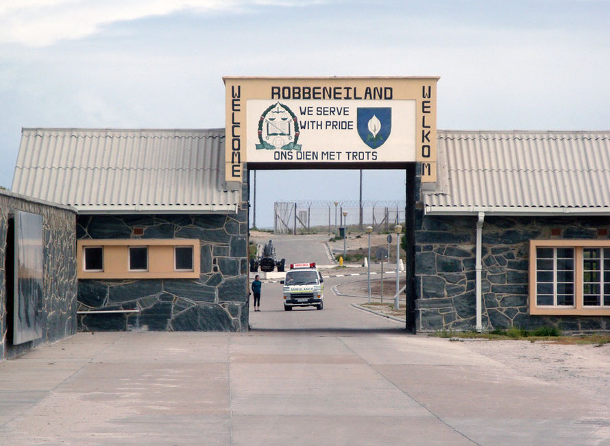 Entrance to Robben Island Prison: home to Nelson Mandela for 18 years, where black prisoners were forced to wear shorts and given no underwear (c) Peg Murray Evans