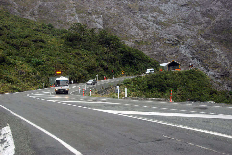 Waiting for our go at the Homer Tunnel western entrance on the Milford Road.