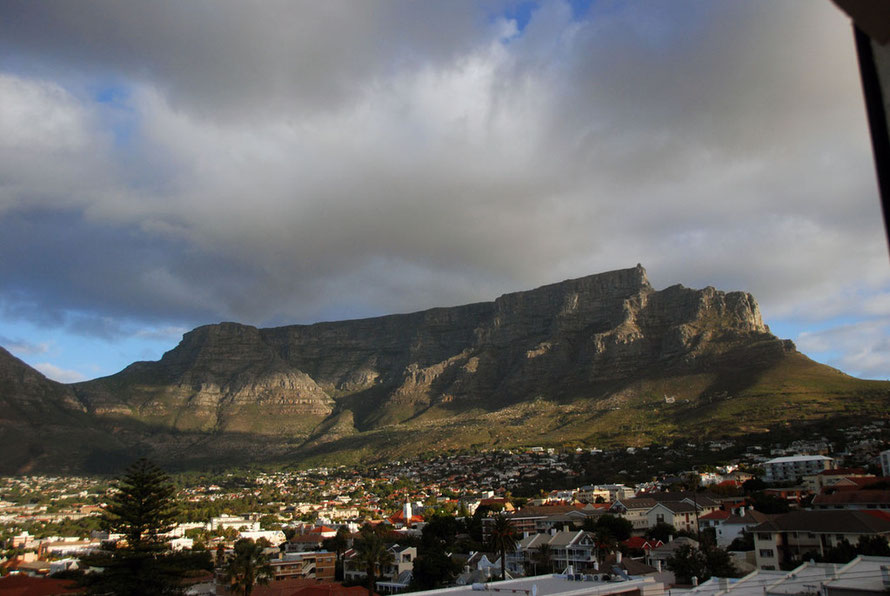 Table Mountain in the late afternoon from our guesthouse in Tamboerskloof, Cape Town