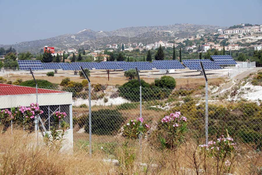 Small scale solar farm near Khirikotia