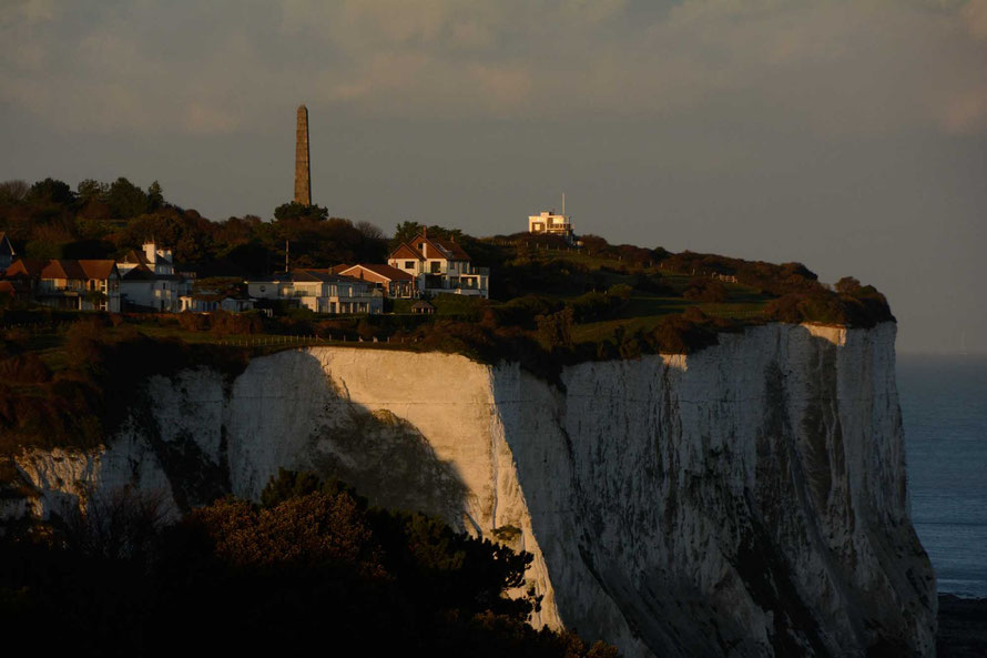 The Dover Patrol memorial and the old coastguard lookout at St Margaret's Bay, Kent.