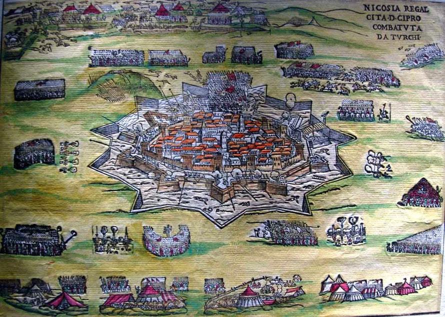 Coloured 16th century print of the Ottoman siege of Venetian Nicosia, Leventis Municipal Museum