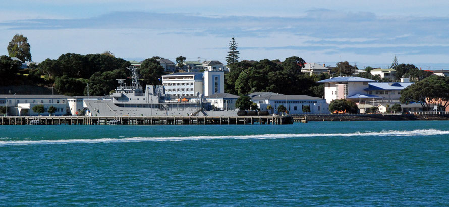 The Royal New Zealand Navy base at Devonport with one of its eleven ships on display.