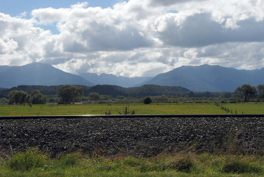 The view from the Bush Loco looking north across the Grey River-Mawheranui valley to Balckball and Mt Davy and Croesus Knob (1204m)