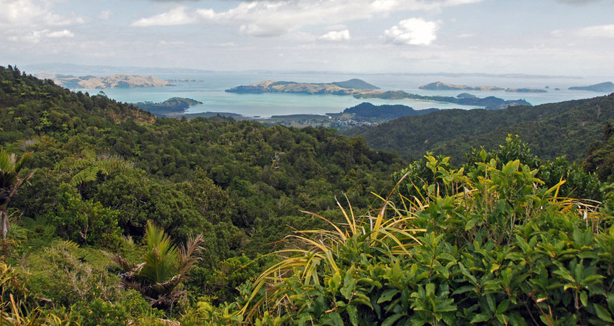 Coromandel Harbour and Ruffin Peninsula and Whanganui Island (Centre) with the distant islands of the Hauruki Gulf - Waiheke, Ponui and the mainland Hunua Ranges.