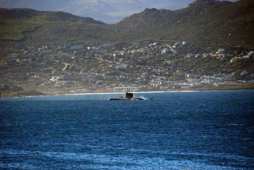 A submarine steams into Simon's Town, home of the South African Navy and a station for the British Navy's South Atlantic Fleet