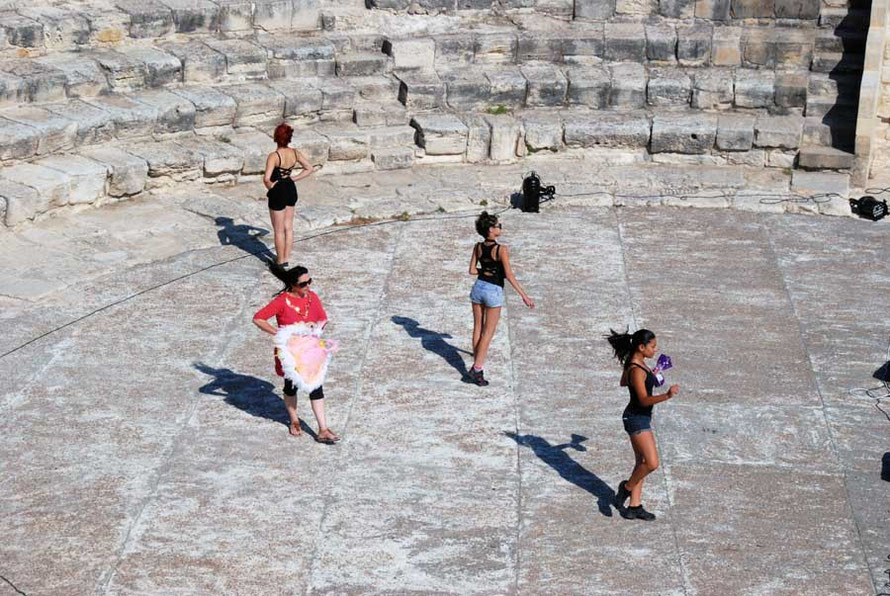 Dancers rehearsing with the Andrea Morelli Rat Pack Show on the orchestra (dancing place) of the Kourion Amphitheatre