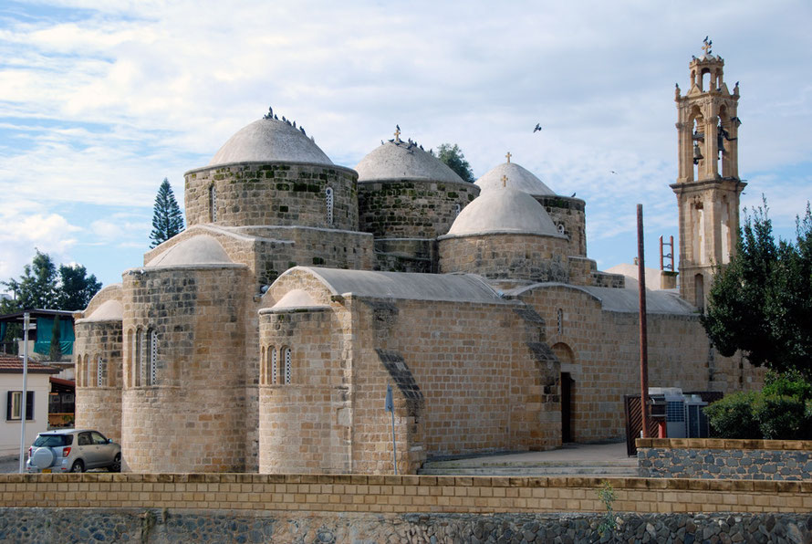 The 10th century Byzantine church of St Barnabas and Hilarion with pigeons - (peristeri - pigeons) on the bank of the river in Peristerona