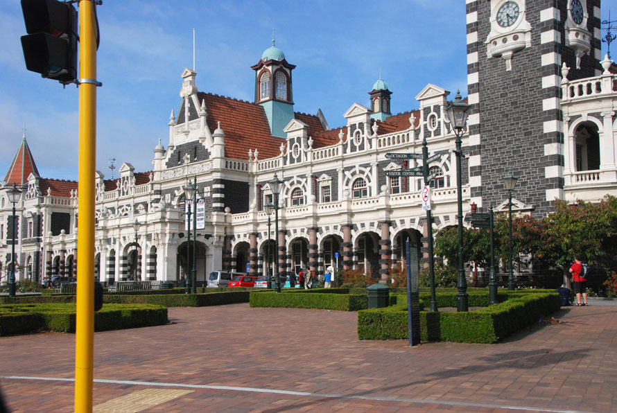 The magnificent Dunedin Railway Station on a better day than the one we had just endured.