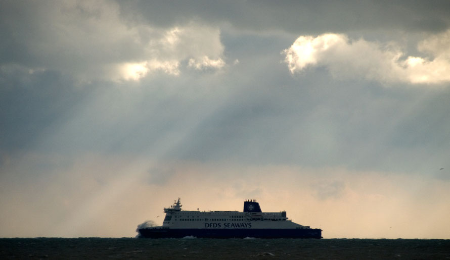 DFDS boat ploughing into the ENE wind gusting at 38mph