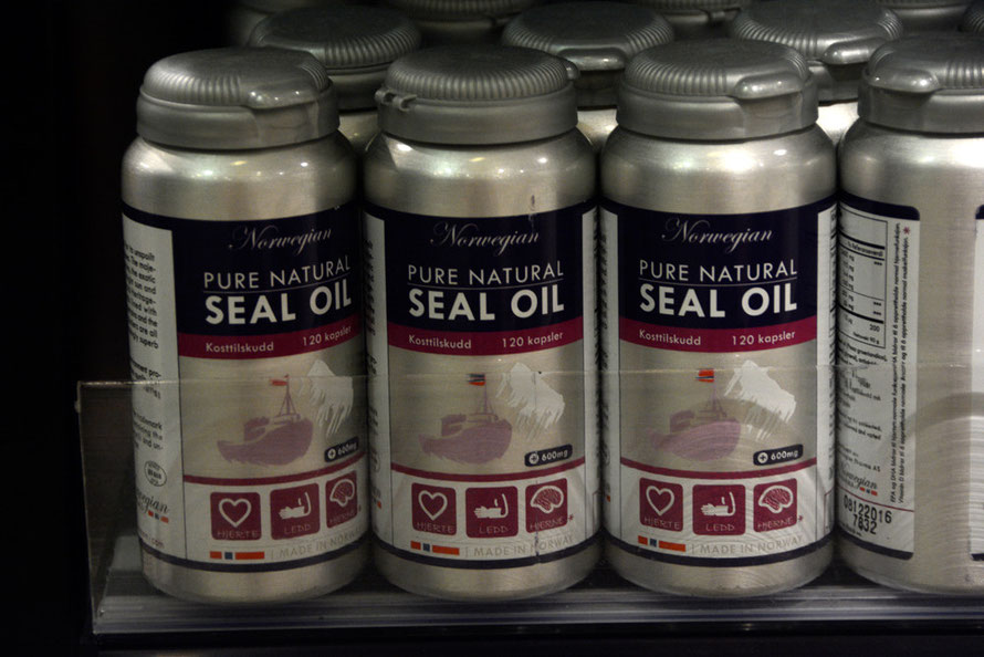 Norwegian Seal Oil capsules for sale at Tromsø Airport. The Harp seal hunt focuses on seal pups at 3 weeks of age - so-called 'beaters'. Not sure if these capsules are made from pup Harp seals.