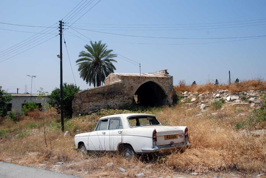 Abandoned house and car, Tochni, where all Turkish Cypriot men over 16  (89 in total) were executed by EOKA -B on 14 August 1974