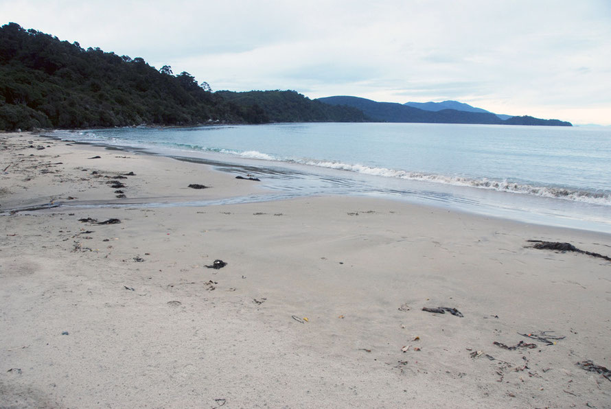 The start of the Rakiura Trail from Lee Bay on Stewart Island - see signage above fore details of peaks, points and bays.