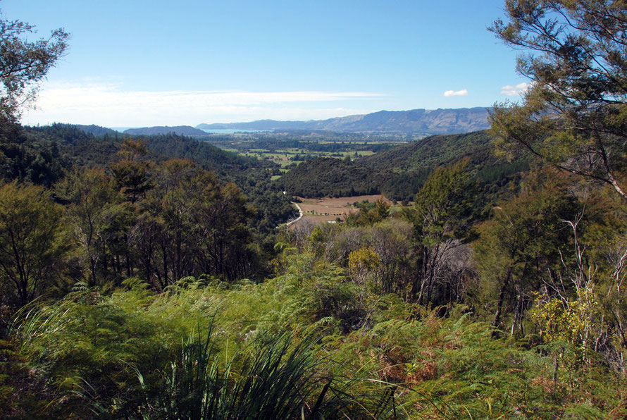 View across the Te Waikoropupu Valley to Golden Bay, Separation Point and the bare limestone uplands of Takaka Hill.