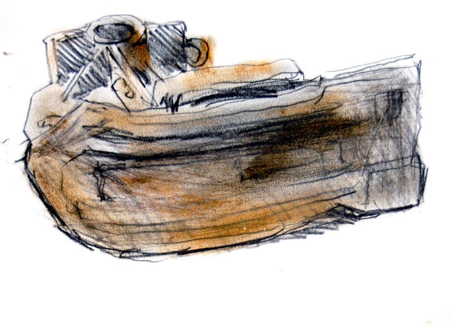 Beam trawler skid, Newlyn