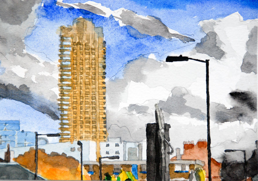 Barbican Big Sky 2006 Watercolour (13x18) Fergus Murray