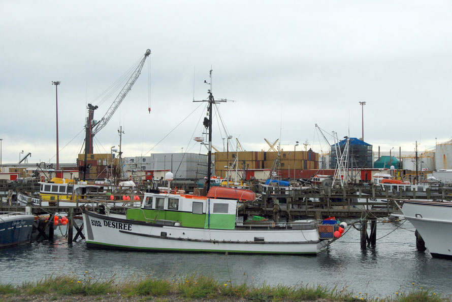 Desiree tied up in Bluff harbour with stacked containers behind.