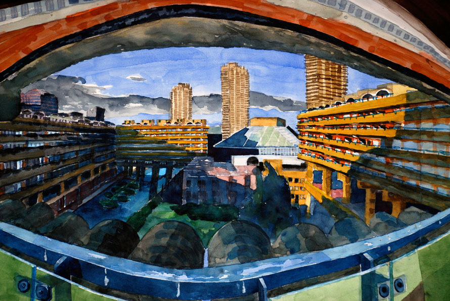 Barbican Estate from Willoughby House looking east, 2006 (Watercolour) (57x76) Fergus Murray