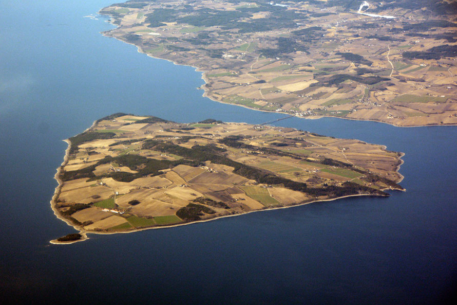 God's patchwork quilt: Helgøya Island on Myøsa lake which is part of the Vorma/Glomma river system which drains into the Skaggerak east of Oslo at Fredrikstad.