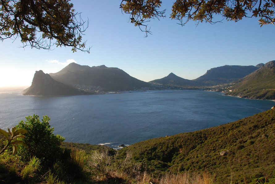 View of Hout Bay and the Sentinel Rock on left looking North towards Cape Town