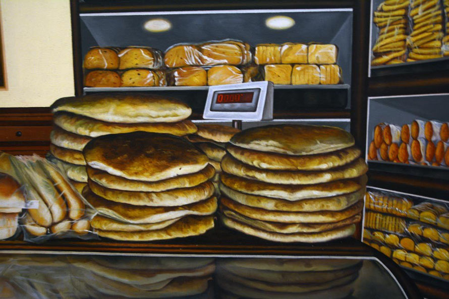 Tina Chandroji Detail, Bakery (60 x 48 Oil on Canvas, 2011)