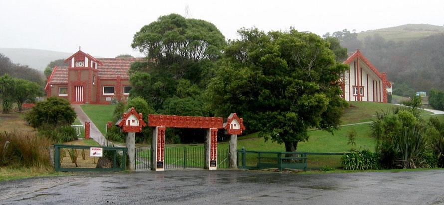 Otakou marae, Otago Peninsula, New Zealand. Buildings built 1940-1945. The building in the top left is Otakou Maori Memorial Methodist Church (Courtesy of Avenue WikiCommons)