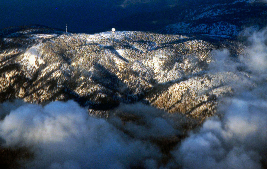 Mount Olympus under snow: the High Troodos are formed of hard rocks from the Earth's mantle (From the air, January, 2013).
