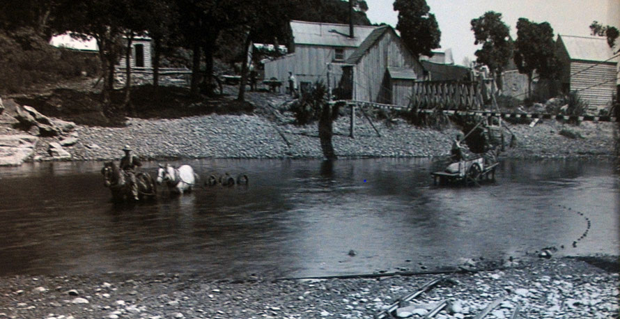 Prouse and Saunders Flax Mill, Paturau River (Tyree Studios - taken from display at Aorere Centre, Collingwood)