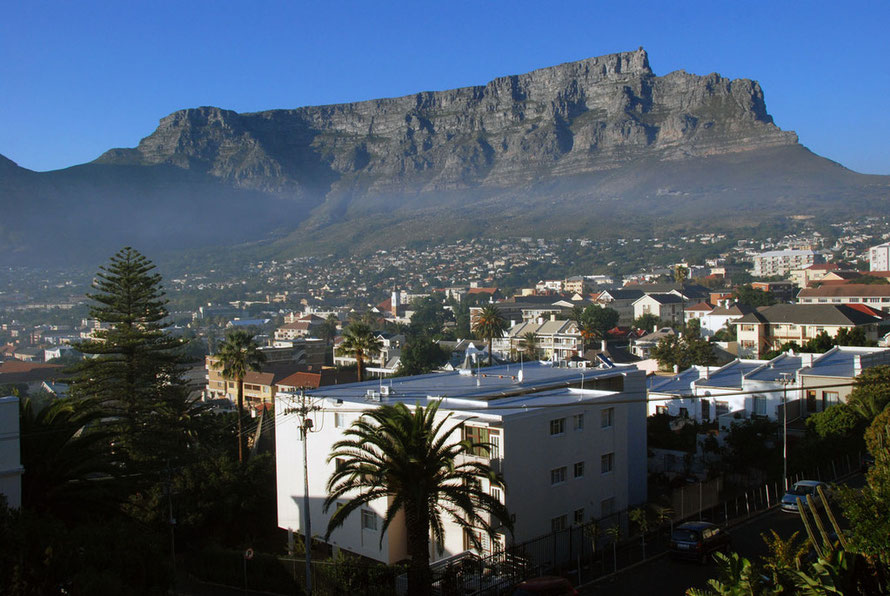 Table Mountain with smoke from a fynbos fire in the early morning from our guesthouse in Tamboerskloof, Cape Town