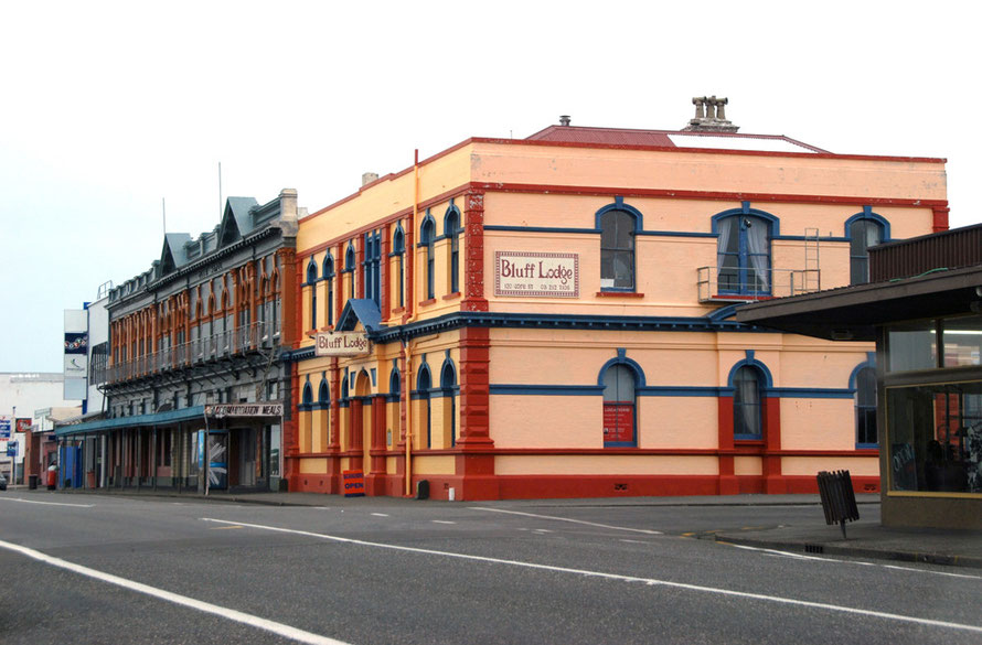 Bluff Lodge - the former Bluff Post Office -  and the Club Hotel buildings, Bluff, NZ.