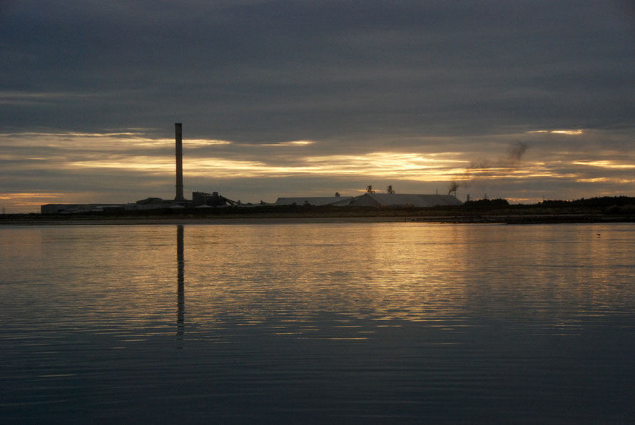 The Tiwai Aluminium Smelter from the Stewart Island Ferry (still version).