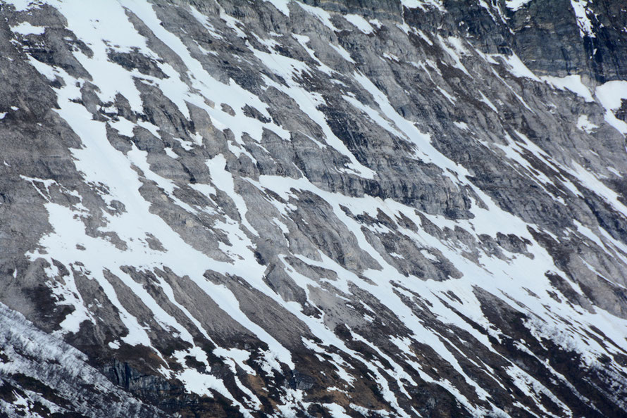 Detail of the truncated spur of Stortuva mountain (1100m) on the western side of the Ullsfjorden opposite the Lyngen Peninsula.
