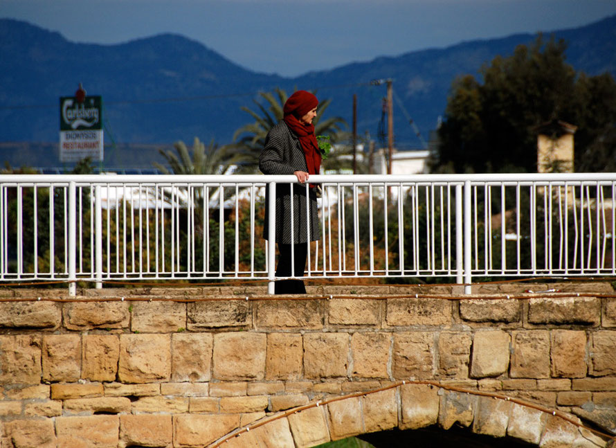 Woman on bridge, Peristerona (Nicosia District) 2013
