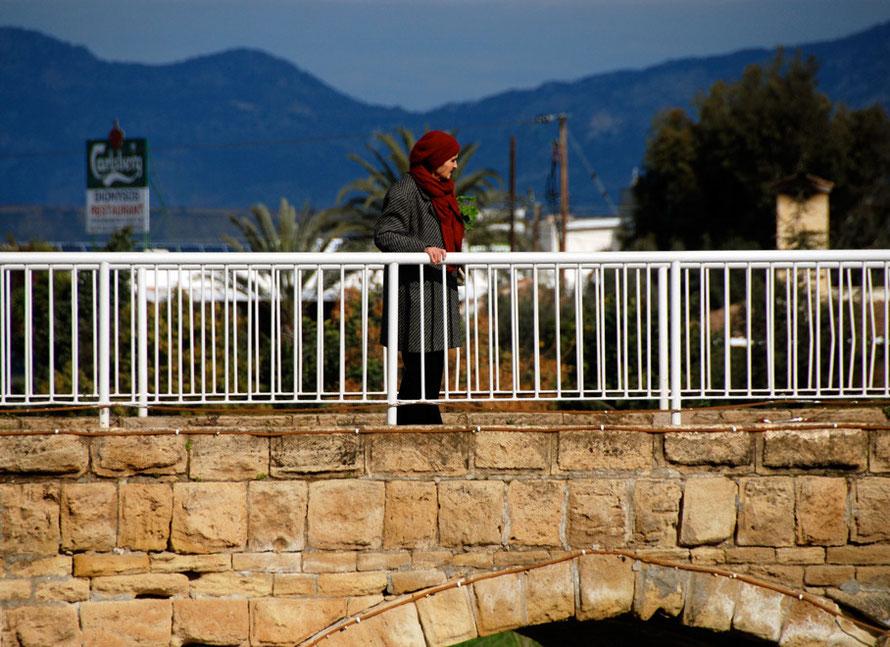 Woman on bridge, Peristerona (Nicosia District) 2013