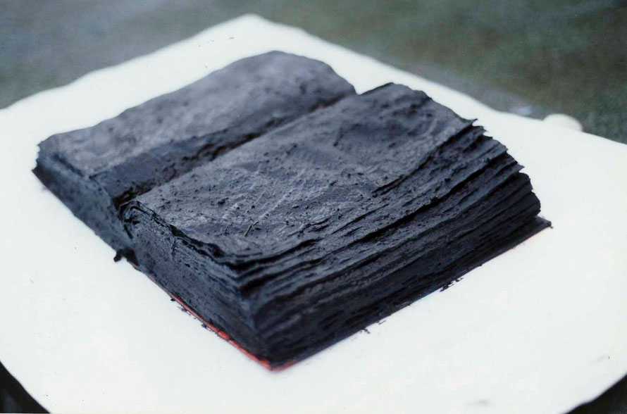 The Unreadable Word (Peat covered book - the artist's own jointly authored work 'Managers Divided')