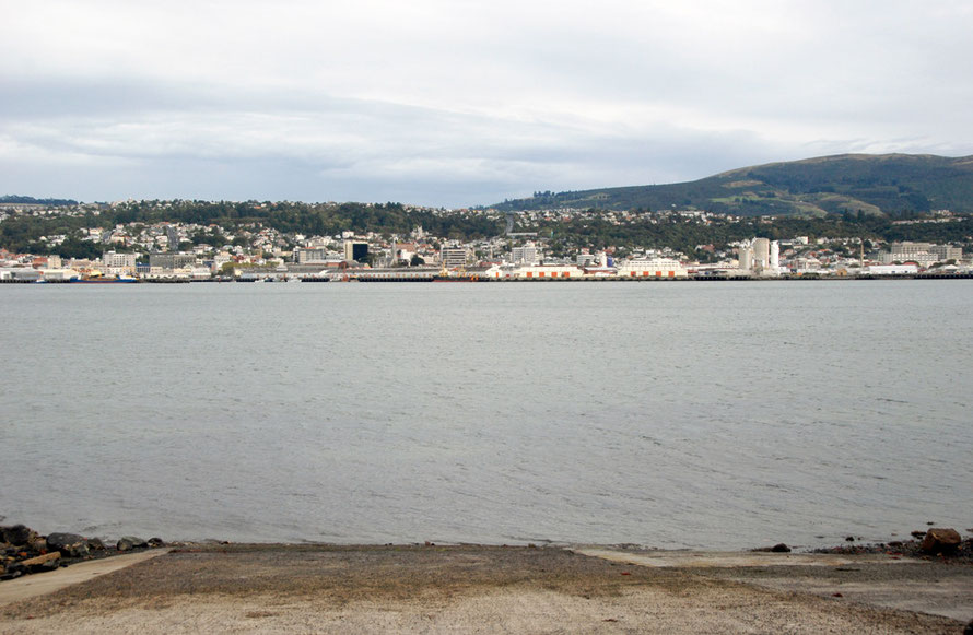 Dunedin waterfront from Waverley on the Otago Peninsula