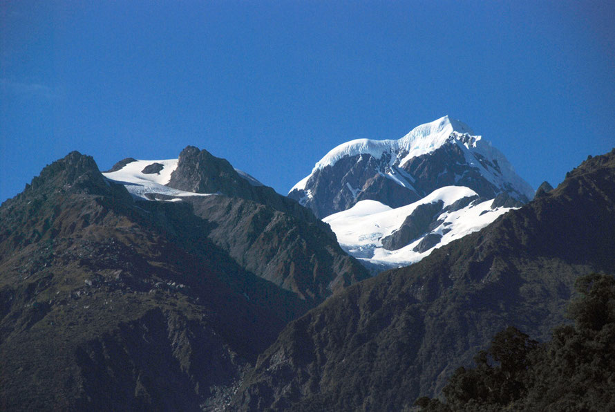 The huge snow cap on Mt Tasman (3,498m) and the precipitous, denuded slopes of the high Southern Alps from Fox Glacier Village