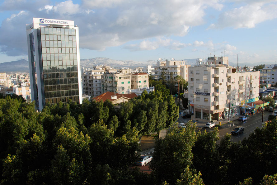 Modern Nicosia, early January 2013: southern suburbs and the Pentadaktylos hills in the north