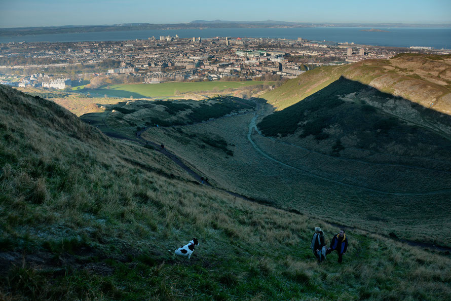 HDR on the way up to Arthur's Seat with Edinburgh, Leith and the Firth of Forth in the background.