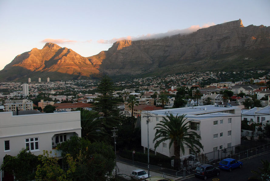 Table Mountain in the early evening from our guesthouse in Tamboerskloof, Cape Town