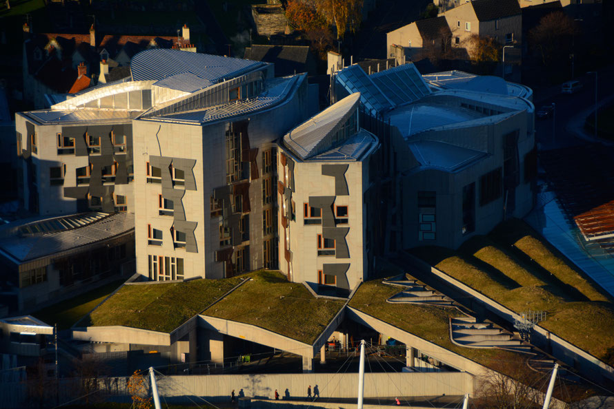 The Scottish Parliament from Salisbury Crags.