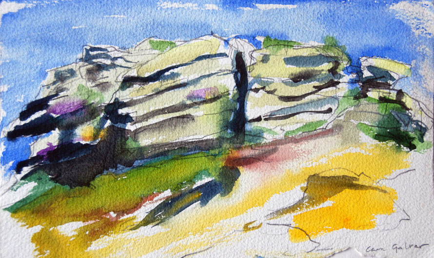 Carn Galver Top 1993 (watercolour) Fergus Murray