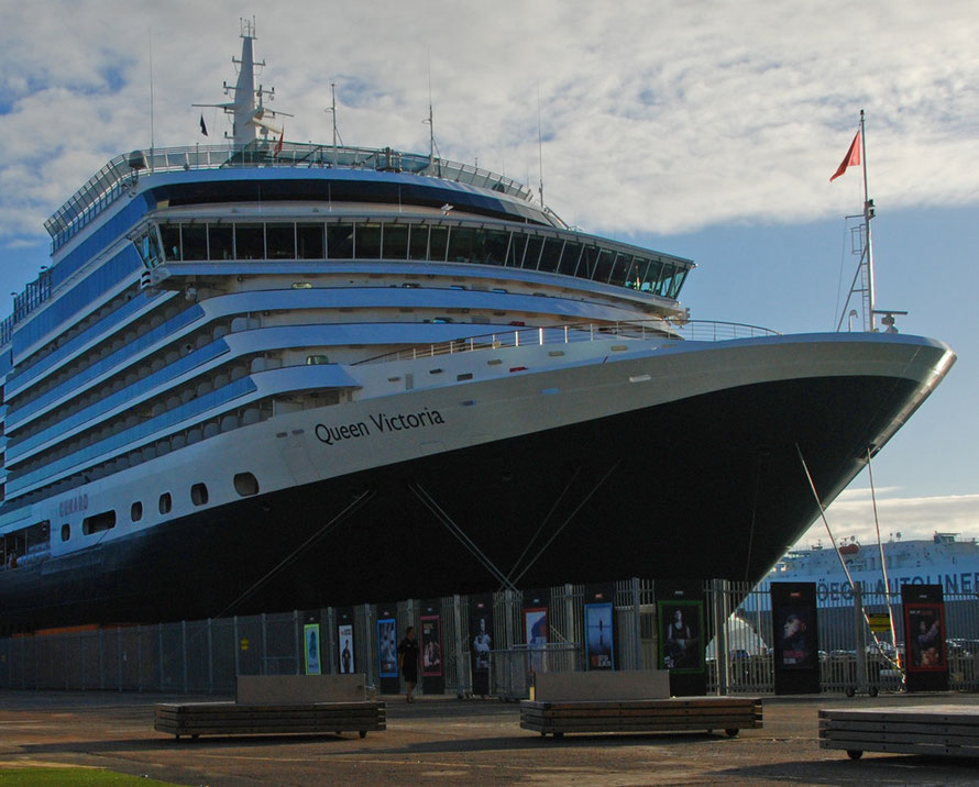 The Queen Victoria at her birth on the Auckland waterfront.