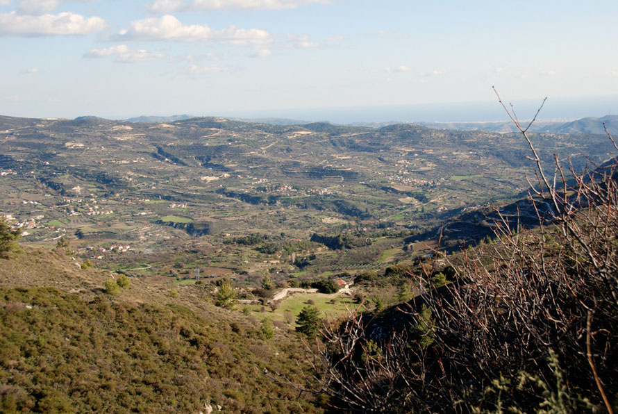 Looking east-south-east from the road above Lfou to the Commandaria villages of Laneia, Doros, Monagri, and Agios Georgios, January 2013.