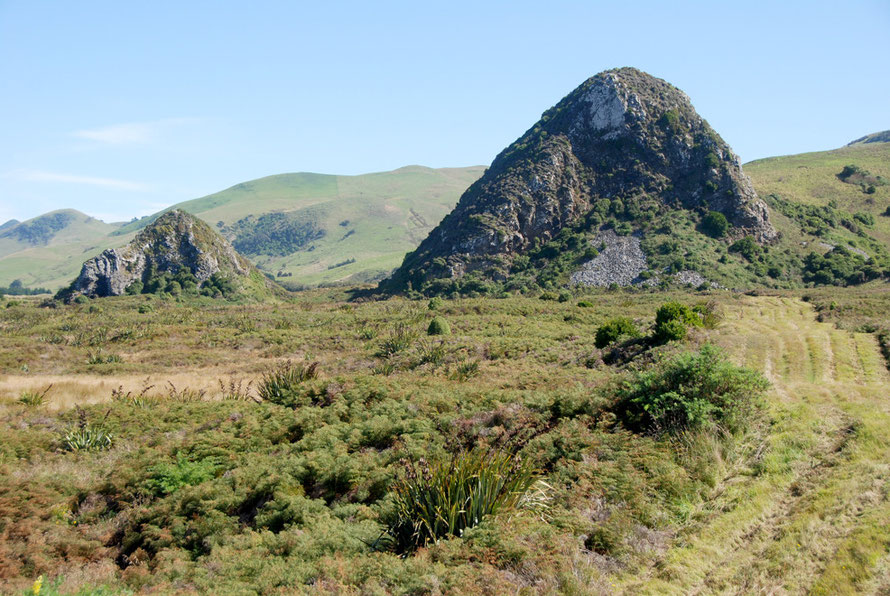The Pyramids at Okia Flats are remnant feed pipes of the giant Dunedin volcano.