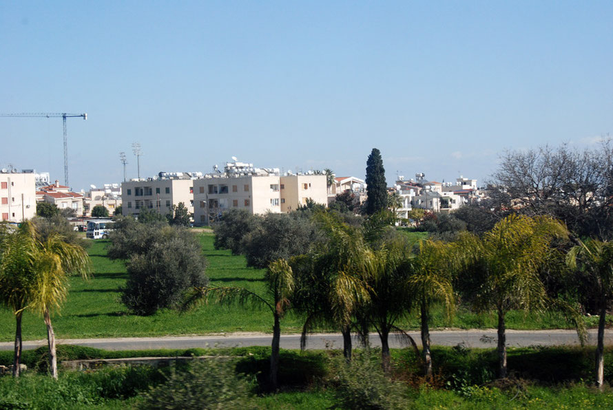 The new suburbs of Larnaca spreading out into the fertile Mesoria.