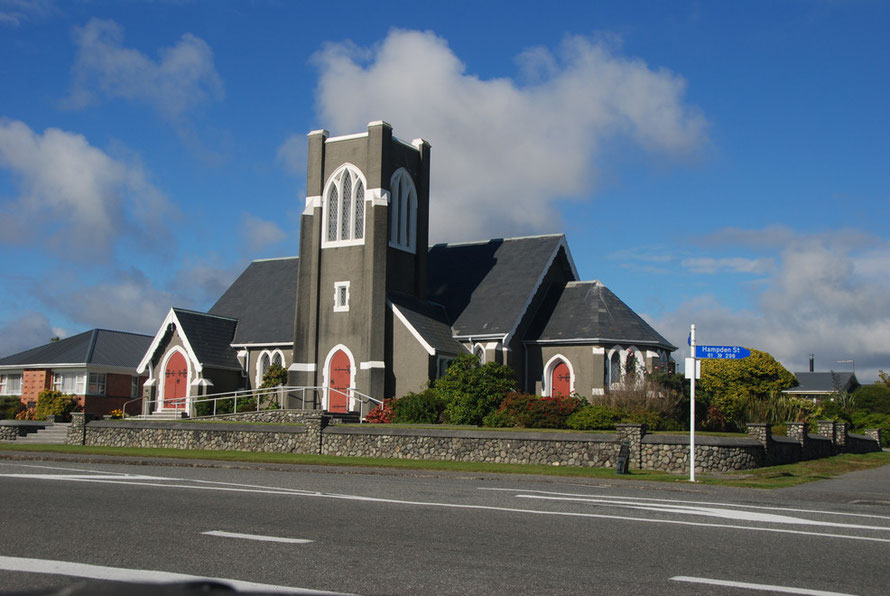 St Andrew's United Church of Hokitika which recently celebrated 25 years of ministry from Rev John Drylie. He introduced the waving of palm leaves on Palm Sunday and the hammering of nails into a cros